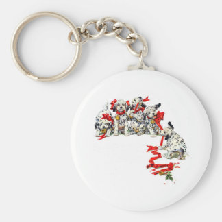 Holiday Dalmatian Pups Basic Round Button Key Ring