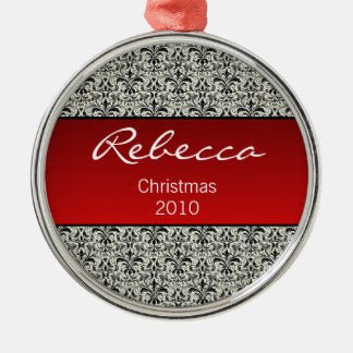 Holiday Damask Premium Round Ornament, Red Silver-Colored Round Decoration