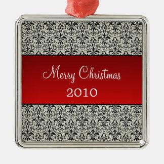 Holiday Damask Premium Square Ornament, Red Silver-Colored Square Decoration