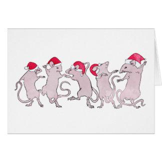 Holiday Dancing Rats Card