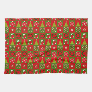Holiday Decorative Squares Tea Towel