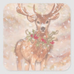 Holiday Deer in Snow Square Sticker