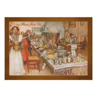 Holiday Dinner Party with Carl Larsson Personalized Invite