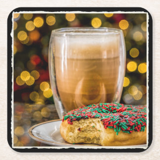 Holiday Donut & Coffee Square Paper Coaster