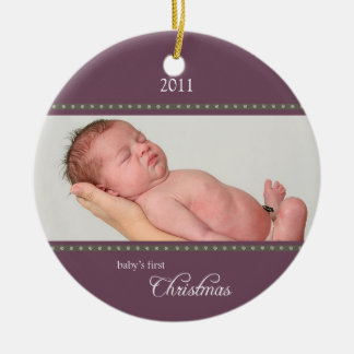 Holiday Dots Ornament plum/stone