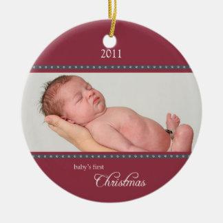Holiday Dots Ornament wine/navy