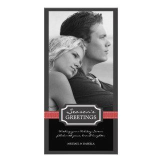 Holiday Elegance Season's Greeting Red Ribbon Custom Photo Card