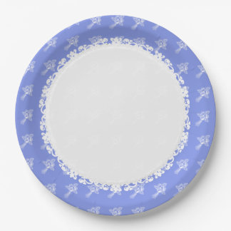 HOLIDAY-EVERYDAY -Blueberry-White_ROSES 9 Inch Paper Plate