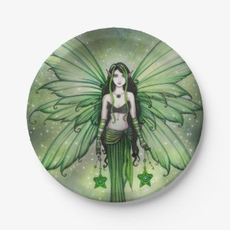 Holiday Fairy Emerald Star Fantasy Art Paper Plate