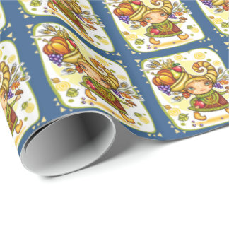 Holiday Fall Thanksgiving Cornucopia Gift Wrap Wrapping Paper