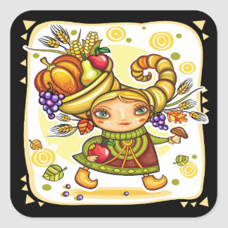 Holiday Fall Thanksgiving Cornucopia Sticker