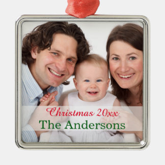 Holiday Family photo template customized Silver-Colored Square Decoration
