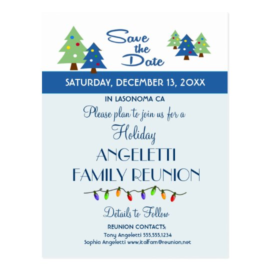 Holiday Family Reunion, Party, Event Save the Date Postcard