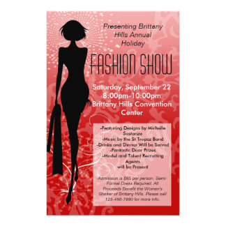 Holiday Fashion Show Flyer, Red Silhouette Swirl 14 Cm X 21.5 Cm Flyer