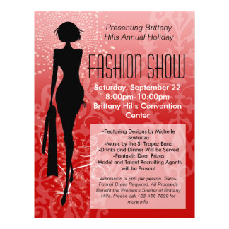 Holiday Fashion Show Flyer, Red Silhouette Swirl 21.5 Cm X 28 Cm Flyer