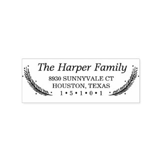 Holiday Feathers Return Address Stamp