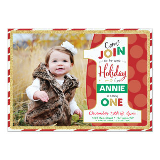 Holiday First Birthday Invitation, Christmas Card