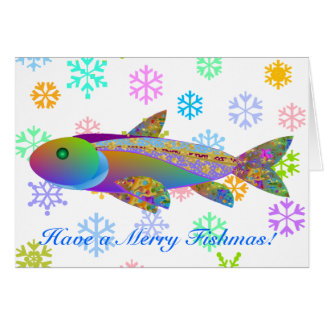Holiday Fish and Colorful Snowflakes Greeting Card