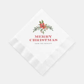 Holiday Floral Frame Christmas Party Napkins Disposable Serviettes