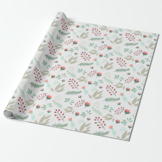Holiday Floral Modern Red & Pink Tulip Pattern Wrapping Paper