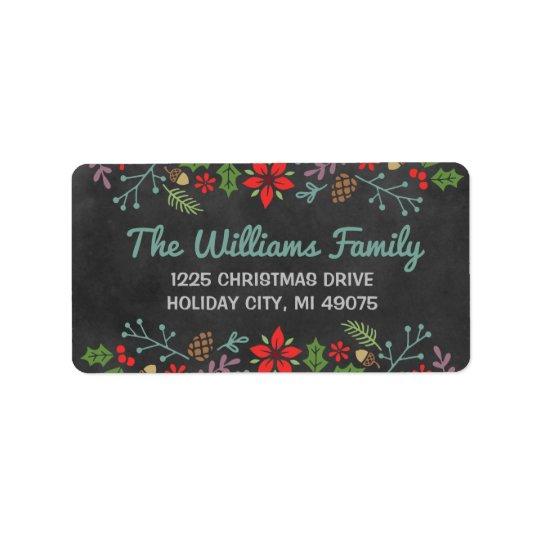 Holiday Florals | Chalkboard Return Address Address Label
