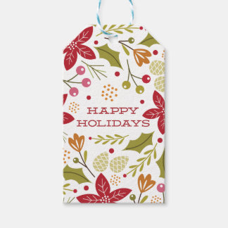 Holiday Florals- Happy Holidays Gift Tags