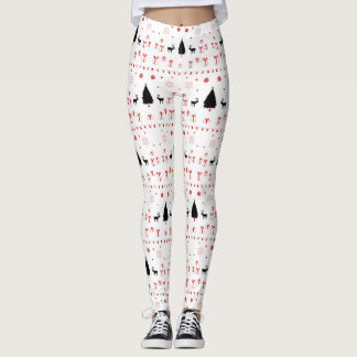 Holiday Folk Leggings - Black & Red on White