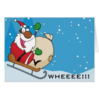 Holiday Fun Black Santa Claus Riding Sled Card
