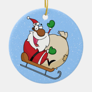 Holiday Fun Black Santa Claus Riding Sled Christmas Ornament