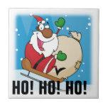 Holiday Fun Black Santa Claus Riding Sled Tiles