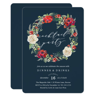 Holiday Garden Wreath Cocktail Party Invitation