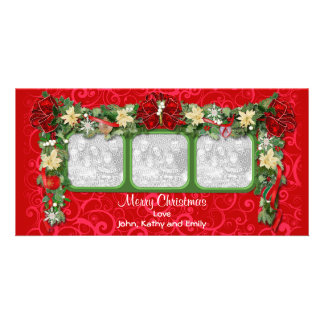 Holiday Garland Triple Photo Card