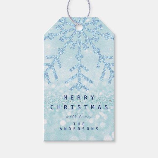 Holiday Gift Blue Snow Flakes Tiffany Ice Glitter