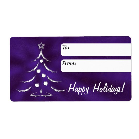 Holiday Gift Label, Christmas Tree, Purple Shipping Label