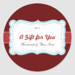 Holiday Gift Label in Red & Blue Round Stickers