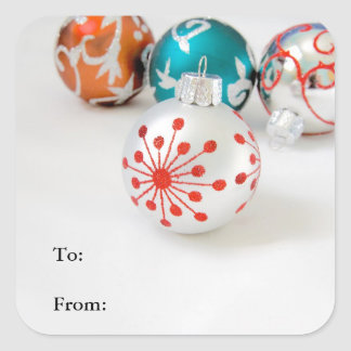 Holiday Gift Labels with Christmas Ornaments Stickers