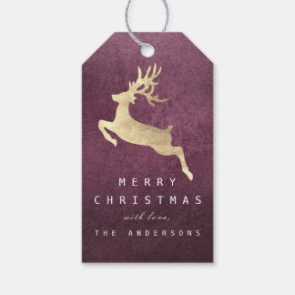 Holiday Gift Tag Beetroot Burgundy Gold Reindeer
