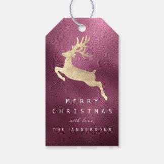 Holiday Gift Tag Beetroot Burgundy Golden Reindeer