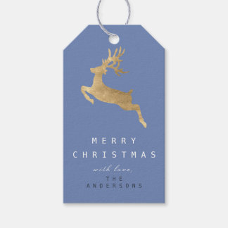 Holiday Gift Tag Blue Gray Gold Reindeer