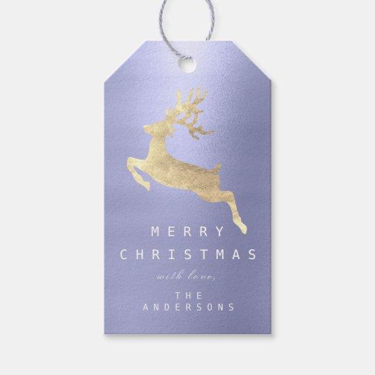 Holiday Gift Tag Blue Indigo Golden Reindeer