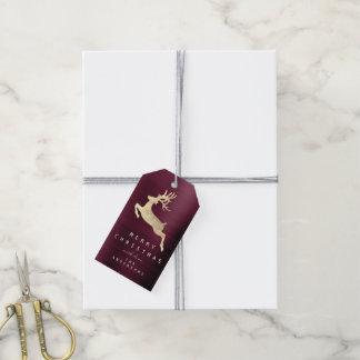 Holiday Gift Tag Gold Burgundy Gold Reindeer