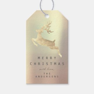 Holiday Gift Tag Gold Copper Powder Gold Reindeer