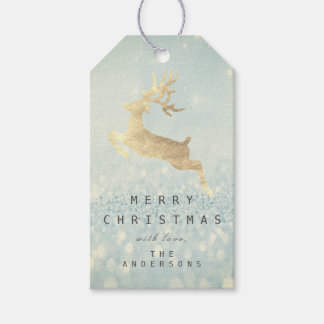 Holiday Gift Tag Gray Glitter Blue Snow Reindeer