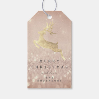 Holiday Gift Tag Gray Glitter Powder Gold Reindeer
