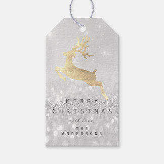 Holiday Gift Tag Gray Glitter Silver Gold Reindeer
