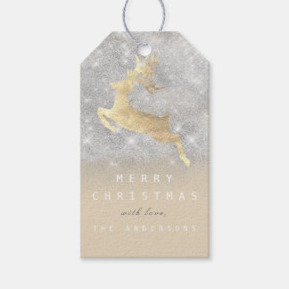Holiday Gift Tag Gray Ivory Gold Reindeer