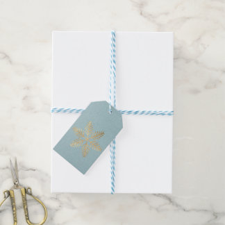 Holiday Gift Tag Mint Blue Kraft Gold Snowflakes