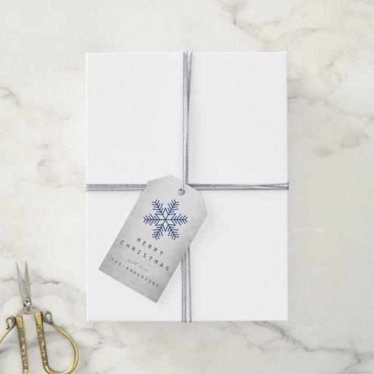 Holiday Gift Tag Navy Silver Snowflakes