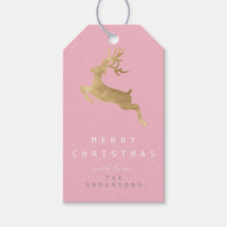 Holiday Gift Tag Pink Pastel Gold Reindeer