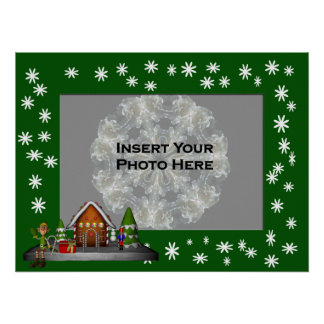 Holiday Gingerbread House Photo Template Poster